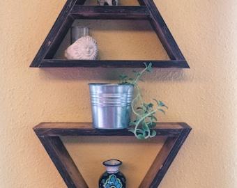 Handmade Triangle Wall Shelves, Geometric Shelves, Triangle Shelf