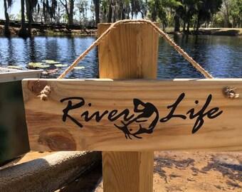 River life Rustic handmade  river sign