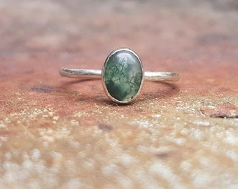 Australian Moss Agate & Eco Sterling Silver ring