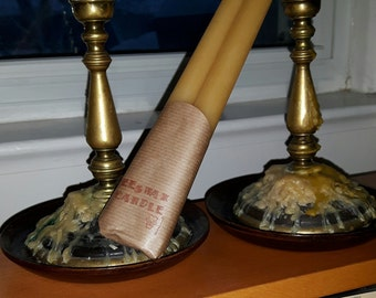 Biiswax Brand Beeswax long taper candles made with pure Ontario beeswax