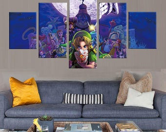 Majora's Mask - 5 Piece Canvas | The Legend of Zelda Wall Art | Painting | Poster | Print | Mural | Decal | Artwork | Home Decor