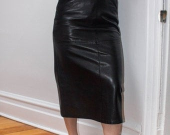 Sexy Leather Skirt Long Below The Knee Panels Tight High Waist Vintage 80s