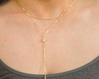 Diamond Lariat Necklace, Y Necklace, Layering Necklace, Drop Necklace, Gold Lariat Necklace, CZ diamond Y Necklace, Y Drop Necklace
