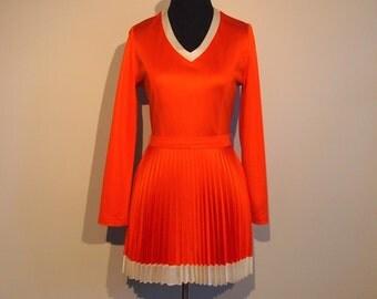 Vintage 1970's Mini Dress from Paris; 70's Pleated Mini Dress XS