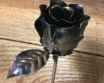 steel rose steel anniversary 11th wedding anniversary Mother's Day flowers metal art Valentine's Day gift chabby chic country decor