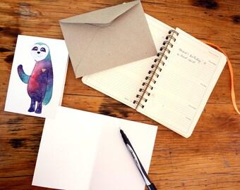 Sloth greeting card, whimsical card , nebula themed card,  magical card, birthday card, children's gift ideas, fine art print,christmas card