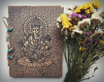 Personalized notepad ganesha Free shipping records wooden gift to a friend birthday boss office Indian, Indian gods, buddha, Buddhism