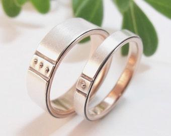 Womens Wedding Band Set Womens Wedding Ring Set Mens Wedding Band Mens Wedding Ring Silver Wedding Ring 14k Rose Gold Ring Handmade Kenzō