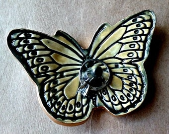 Ceramic Butterfly Ring Holder Mustard Yellow edged in Gold
