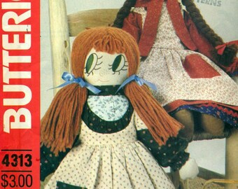"""Butterick 4313 CLOTH DOLLS 17"""" and 21"""" Bonnie's Bundles VINTAGE 1980s Embroidered Faces Stuffed Dolls with Clothes"""