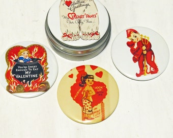 Vintage Funny Valentine Magnet Set in Gift Tin- 4- Cute/Funny/Risque 3 inch mylar magnets in gift tin