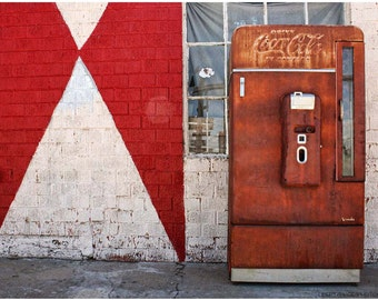 Rusty Coca-Cola Machine Photographed Against Red & White Wall - 9x12 Americana Photo Art - Route  66 Documentary Photo - Limited Edition Art