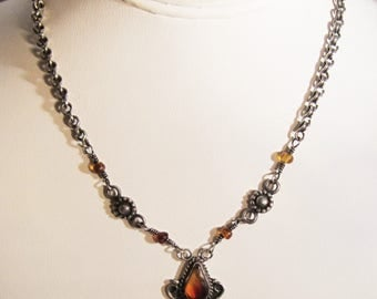 Vintage Sterling Silver Chain Link Lavalier Necklace with Amber Beads and Detailed Drop Pendant       1269