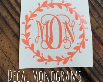 Monogram Car Decal Wreath Border Vinyl