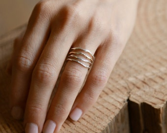 Warrior Set | Gold and Silver Ring Set |  Nature Inspired Rings