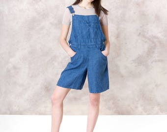 LINEN OVERALL SHORTS women loose casual Spring Summer blue colors vintage 90s minimal modern / Medium / better Stay together