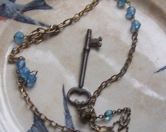 Blue Sky Rosary Necklace