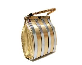 60s Gold Tone Metal Box Purse, Mod Metal Purse, Metallic Box Bag, 1960s Gold Fashion Purse