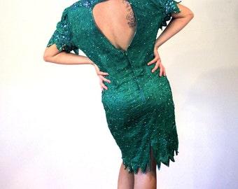 Emerald Sky, 80s Sequin Dress L XL, Green Sequin Dress, Great Gatsby Dress, Beaded Dress, Silk Flapper Dress, Open Back Trophy Party Dress