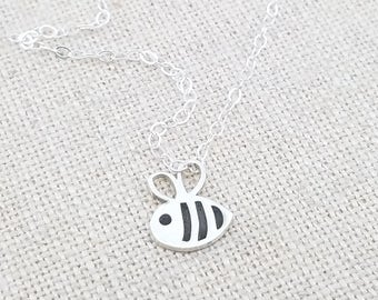 Tiny Charm Necklace - Tiny Bee Jewelry - Silver Bee