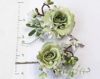 green floral hair pins, sage green bridesmaid hair accessories, pearl hair pins, rose hair pins, flowers for hair, garden wedding hairpiece