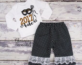 Baby Girl New Years Eve Outfit, Holiday Toddler Clothes, Top and Ruffle Pants Set 2017 Babe Black Gold Glitter by Charming Necessities