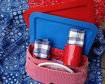 Wedding Gift - Picnic Basket - Bandana Print Picnic Cloth - Lunch Trays, Plates, Plaid Napkins, Tag Cups - Item #P0032