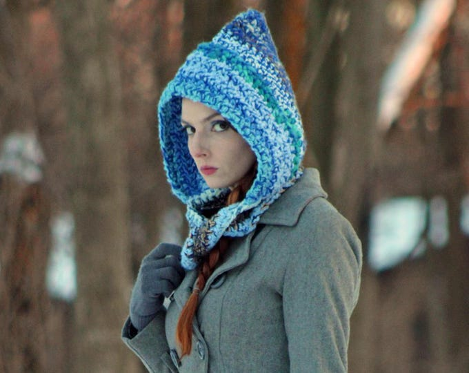 Blue Hooded Scarf Infinty Scarf Mobius Skood Knit Cowl Great Gift for Men or Women Stocking Stuffer