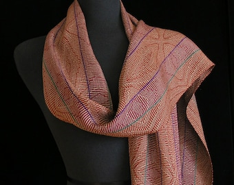 Handwoven Scarf Soft Tencel Scarf Long Handmade Shawl by FiberFusion Fall Colors Scarf Light Weight Scarf Wrap - Autumn Serenade
