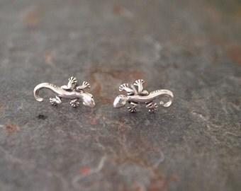 Sterling Silver Gecko Post Earrings