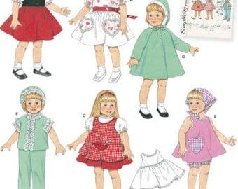 Vintage DOLL CLOTHES Sewing Pattern Dress Pinafore Panties PJs Night Cap 2454