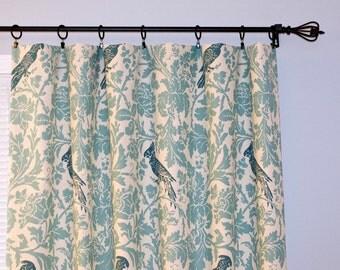 Parrot Curtains Village Blue Natural, Pair of Rod Pocket Panels, Premier Prints Barber Bird Floral Damask - Choose Size