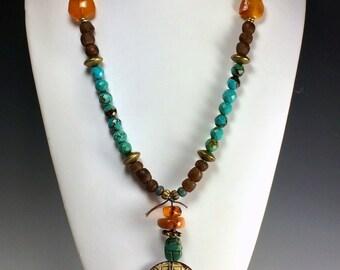 Turquoise Long Necklace   Boho Vibe Necklace  