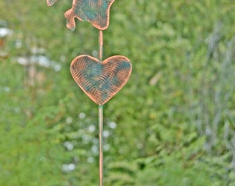 Angel Outdoor Metal Sculpture, Memorial Garden Art Stake, Copper Angel Garden Marker, Metal Yard Art, Angel Grave Marker, Garden Stake