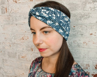 Turban Headband Women- liberty print -navy blue turban headwrap - floral print headband - hair accessories - wide headband - gift for her