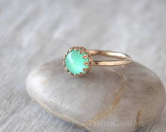 Gold Chrysoprase Ring in 14k Gold-Filled - Green Chalcedony Ring - Handcrafted Artisan Ring