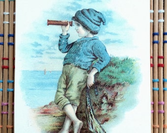 Victorian Paper Ephemera:  Barefoot Boy at Seaside with Spyglass