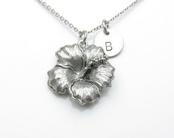 Hibiscus Necklace, Flower Necklace, Initial Necklace, Personalized, Stamped Initial Letter, Tropical Flower, Antique Silver, Monogram Y441