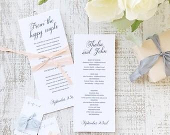 Printable Wedding Program Template   INSTANT DOWNLOAD   Romantic Script   Flat Tea Length   Editable Colors   Mac or PC   Word & Pages