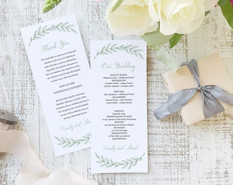 Instant Printable Wedding Program Template   INSTANT DOWNLOAD   Woodland   Flat Tea Length   Editable Colors   Mac or PC   Word & Pages
