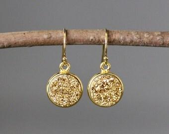 Gold Druzy Earrings - Druzy Quartz Earrings - Gold Vermeil Earrings - Druzy Jewelry - Bridal Jewelry - Evening Jewelry - Sparkling Earrings