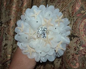 Starfish hair clip, mermaid hair clip,  beach wedding , hair clip, seashell hair clip,  mermaid hair, star fish, sea shell