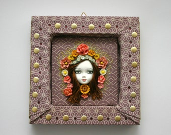 Art Nouveau, Maiden, Lady, retro, Doll Frame, mixed media art, roses, flowers, home decor, wall, face, roses, one of a kind, 3D, Mucha style