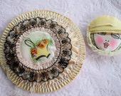 Antique FLAPPER POWDER PUFF Boag Silk Ribbon Work Rose Lace Drawstring Bag Holder Make up Ribbonwork 1920s Ladies Cloche Hat Face Head Nos