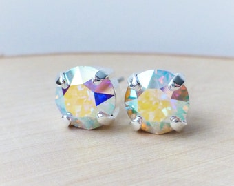 Aurora Borealis Swarovski Stud Earrings, Crystal Rhinestone Stud Earrings, AB Prism Post Earrings, Silver Round Crystal Studs, Gift