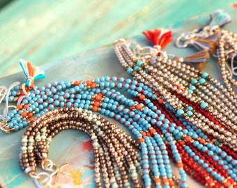 Five Beaded Strand Necklace in Turquoise with Handmade Clasp