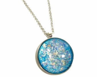 Shimmery Large Glitter Necklace,  Large Round Necklace, Aqua Blue,  Statement Pendant, Nail Polish Necklace, Glitter Jewelry