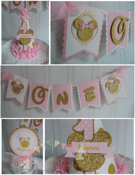 Minnie Mouse pink and gold Smash cake 1st birthday decorations