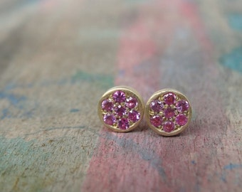 Pink Sapphire Stud Earrings  - Sapphire Gold Earrings -  Sapphire Studs - Sapphire Earrings -  Gold Studs - Gold Stud Earrings
