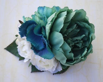 Spring mint teal peony with mint and teal hydrangea cream roses and white berries vintage wedding bridal hairflower rockabilly pin up